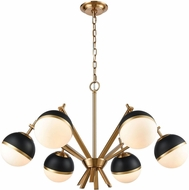 ELK Home 1141-074 Blind Tiger Modern Aged Brass With Black Gold White Glass Chandelier Lamp