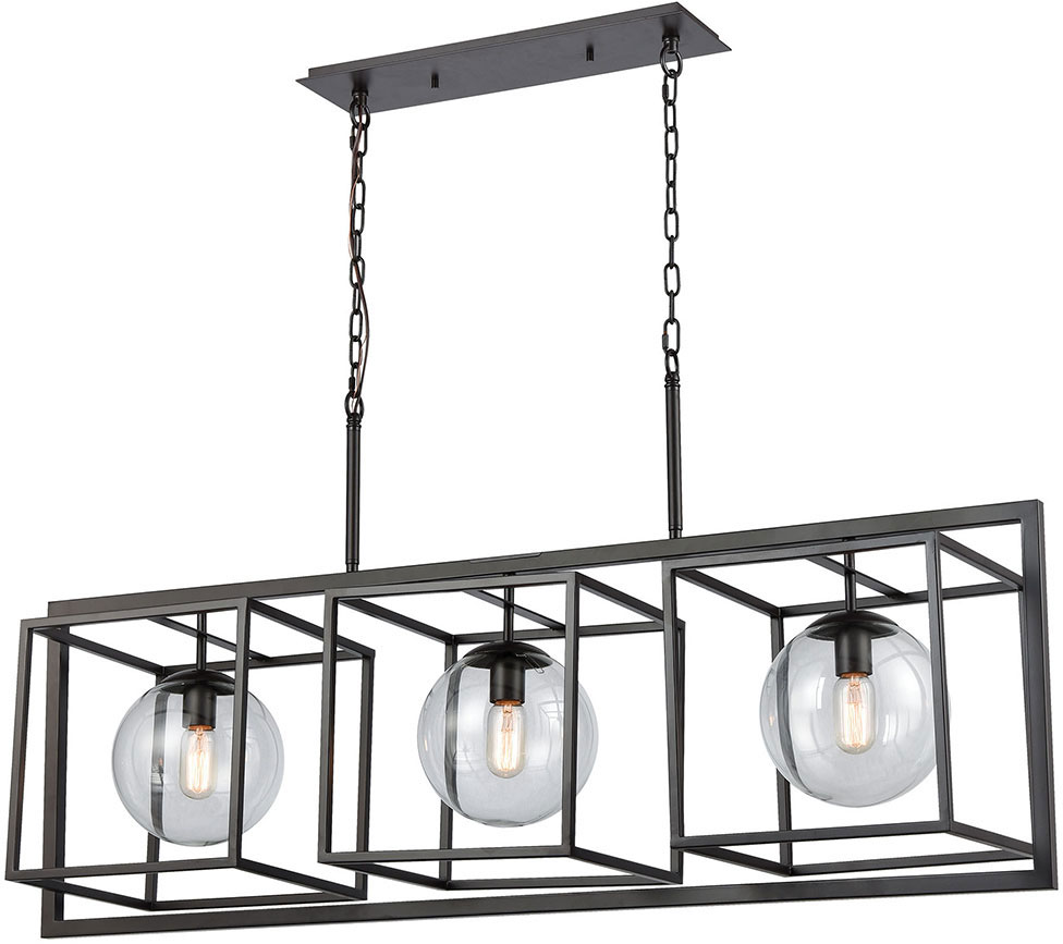 Elk Home 1141 075 Beam Cage Contemporary Oil Rubbed Bronze With Clear Glass Kitchen Island Lighting