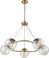 ELK Home 1141-076 Surface To Air Modern Aged Brass With Clear Glass Chandelier Light