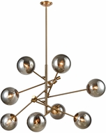 ELK Home 1141-082 Accelerated Returns Modern Aged Brass Withplated Smoke Glass Hanging Chandelier