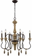 ELK Home 1202-001 Salon de Provence Natural Woodtone / Aged Iron Chandelier Light