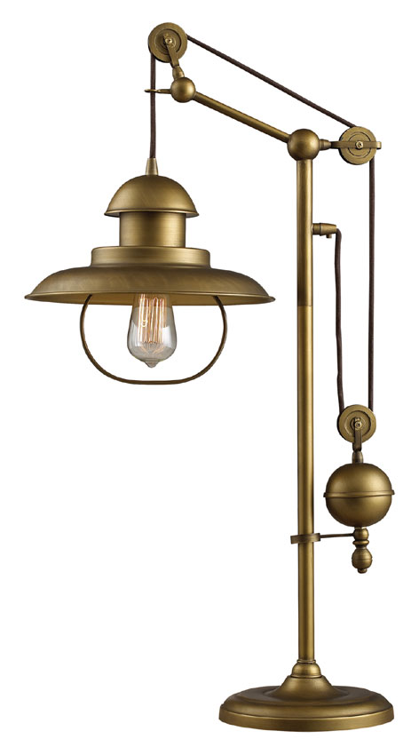 Elk Home D2252 Farmhouse Antique Brass 32 Inch Tall Vintage Style Desk Lamp Ekh D2252