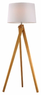ELK Home D2469 Wooden Tripod Natural Wood Tone Finish 63  Tall LED Floor Lamp Lighting