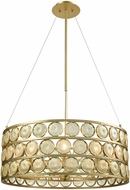 Dimond D3313 Signet Contemporary Light Amber Smoke Gold Drum Hanging Pendant Light