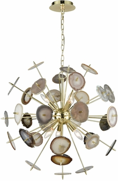 ELK Home D3370 Galileo Contemporary Bright Gold Natural Agate Ceiling Chandelier
