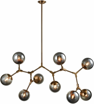ELK Home D3564 Synapse Contemporary New Aged Brass Smoke Grey Ceiling Chandelier