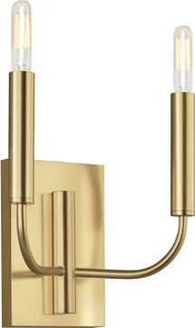 ED Ellen DeGeneres EW1002BBS Brianna Modern Burnished Brass 2-Light Bathroom Lighting Sconce