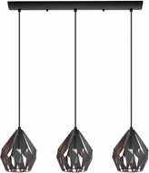 EGLO 202036A Carlton 3 Modern Matte Black & Copper Multi Pendant Lamp