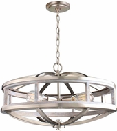 EGLO 203108A Montrose Contemporary Acia Wood & Brushed Nickel Pendant Lamp