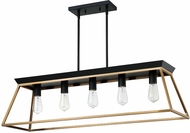 EGLO 204596A Paulino Contemporary Brushed Gold and Matte Black Island Lighting
