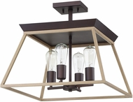 EGLO 204611A Paulino Modern Dark Brown and Bleached Wood Ceiling Light Fixture