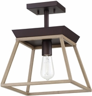 EGLO 204612A Paulino Modern Dark Brown and Bleached Wood Flush Mount Lighting
