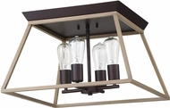 EGLO 204613A Paulino Contemporary Dark Brown and Bleached Wood Flush Mount Light Fixture