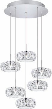EGLO 39008A Corliano Chrome LED Multi Hanging Pendant Lighting