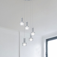 EGLO 90577A Fabiana 5 Lamp Modern Chrome Multi Pendant Light Fixture - 13 Inch Diameter