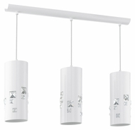EGLO 92658A Pigaro Glossy White 3 Lamp 28 Inch Wide Island Lighting Fixture