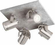 EGLO 95744A Praceta Modern Concrete Grey, Matte Nickel & Chrome LED 4-Light Track Lighting Fixture