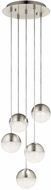 Elan 84014 Moonlit Modern Brushed Nickel LED Multi Hanging Pendant Light