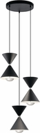 Elan 84114 Kordan Contemporary Matte Black LED Multi Drop Ceiling Light Fixture