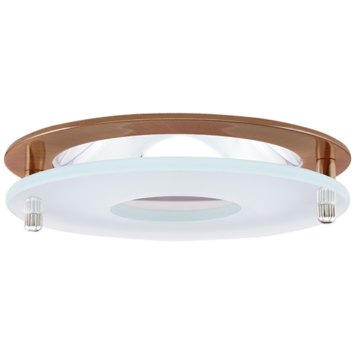 Elco El1426cp Modern Copper 4 Reflector Recessed Lighting Trim With Suspended Frosted Gl