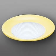 Elco EL304WG Modern White with Gold Medium Base 6  Recessed Lighting Wide Flanged Baffle Trim