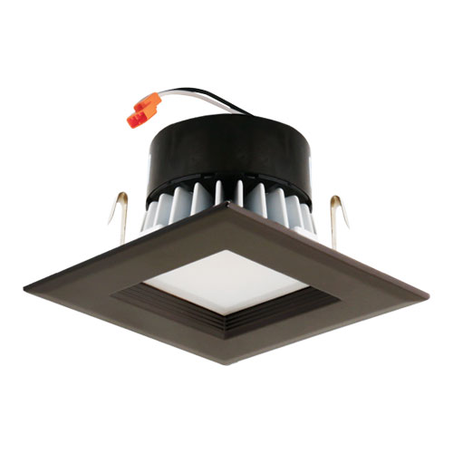Elco El44130bz Bronze 4 Square Led Insert Baffle Recessed Lighting Trim