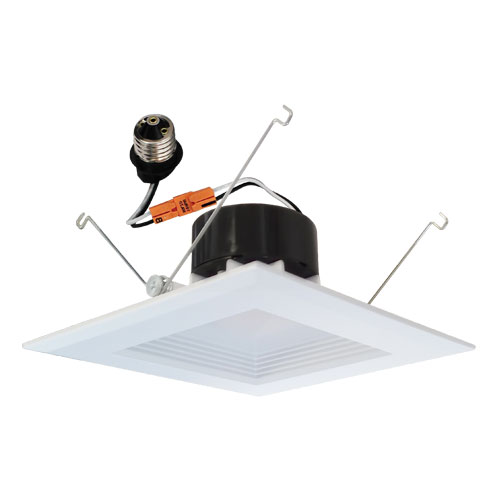 Elco El66130w White 6 Led Square Insert Baffle Recessed Lighting Trim