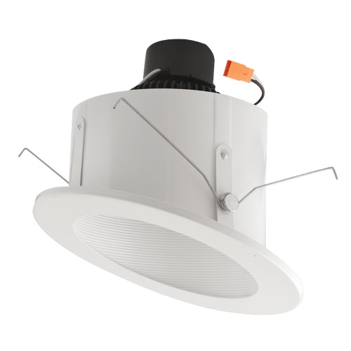elco el713w white 6 sloped ceiling led baffle inserts recessed