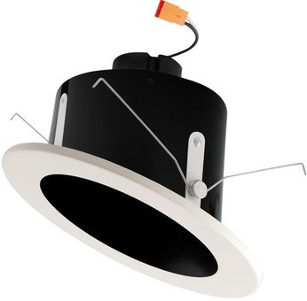 """Elco EL716XXB 6"""" LED Sloped Ceiling Housings and Trims Contemporary Black w/White Ring LED 6 Sloped Ceiling LED Reflector Recessed Lighting Insert"""