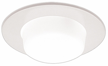 Elco EL9116W Modern White Medium Base 4 Recessed Lighting Shower with Drop Opal Lens and Reflector Mini Trim