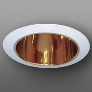 Elco ELA5099G Contemporary Gold with White Medium Base 5 Down Lighting Specular Reflector with Socket Bracket Trim