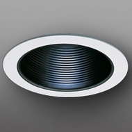 Elco ELM30BOV Modern Black Medium Base 6  Recessed Lighting Metal Baffle Oversized Ring Trim