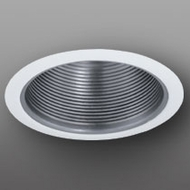 Elco ELM30NW Contemporary Nickel with White Medium Base 6  Down Lighting Metal Baffle Trim