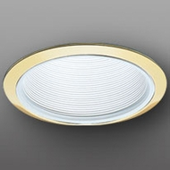 Elco ELM30WG Modern White with Gold Medium Base 6  Recessed Light Metal Baffle Trim