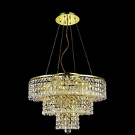 Elegant 2037D20G-RC Maxim 20 Small Gold 9 Light Chandelier with Clear Crystal