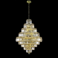 Elegant 2038D32G-RC Maxim 32 Wide 30-lamp Large Gold Chandelier with Clear Crystal