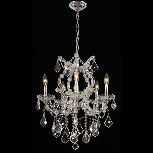 Elegant 2800d20c Rc Maria Theresa 6 Light Crystal Plug In Chandelier Chrome Finish Ele