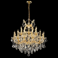 Elegant 2800D30G-RC Maria Theresa Gold 19 Light Traditional Hanging Chandelier with Crystal