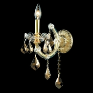 Elegant 2800W1G-GT-RC Maria Theresa Gold Candelabra Wall Lamp with Golden Teak Crystal