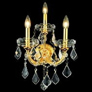 Elegant 2800W3G-RC Maria Theresa Vintage Crystal 3 Candle Gold Decorative Wall Sconce