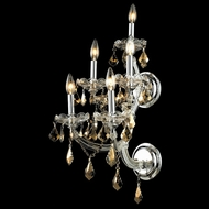 Elegant 2800W5C-GT-RC Maria Theresa Golden Teak Crystal Chrome 5 Candle Sconce
