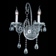 Elegant 7952W2SS-SS-RC Verona Silver Shade Finish 2 Candle Wall Light Fixture with Rounded Crystal Drop