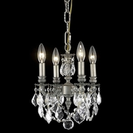 Elegant 9104D10PW-RC Lillie Vintage Classic Crystal Mini Chandelier in Pewter