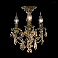 Elegant 9203F13AB-GT-RC Rosalia 3 Candle Antique Bronze Crystal Ceiling Light Fixture
