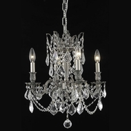 Elegant 9204D17PW-RC Rosalia Clear Crystal 4 Lamp Vintage Chandelier with Pewter Finish