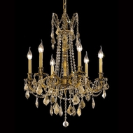 Elegant 9206D23FG-GT-RC Rosalia Classic French Gold Chandelier Light with Golden Teak Crystal Accents