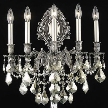 Elegant 9605W21PW-GT-RC Monarch Pewter Wall Light Sconce