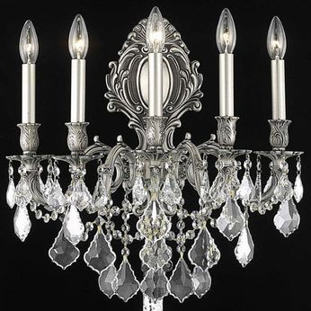 Elegant 9605W21PW-RC Monarch Pewter Wall Sconce Light