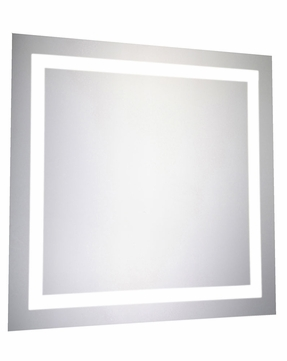 Elegant Lighting MRE-6010 Element Contemporary Glossy White LED 28  x 28  Square Wall Mounted Mirror