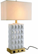 Elegant TL3001 Brio Brushed Brass And White Table Lamp
